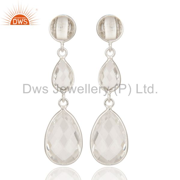 Handmade 925 Sterling Silver Crystal Quartz Bezel Set Triple Drop Earrings