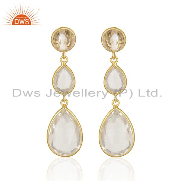 Crystal Quartz Bezel Set Gemstone Sterling Silver Gold Plated Dangle Earrings