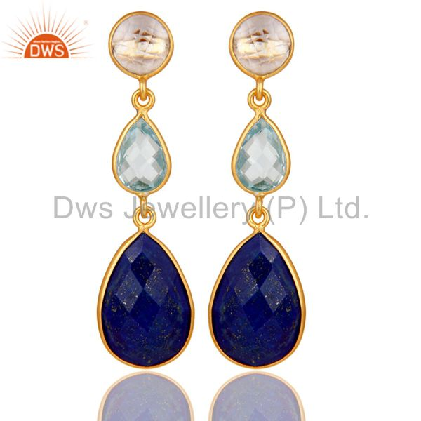 Lapis Blue Topaz and Crystal Gemstone Dangle Earring 18K Gold Over 925 Silver
