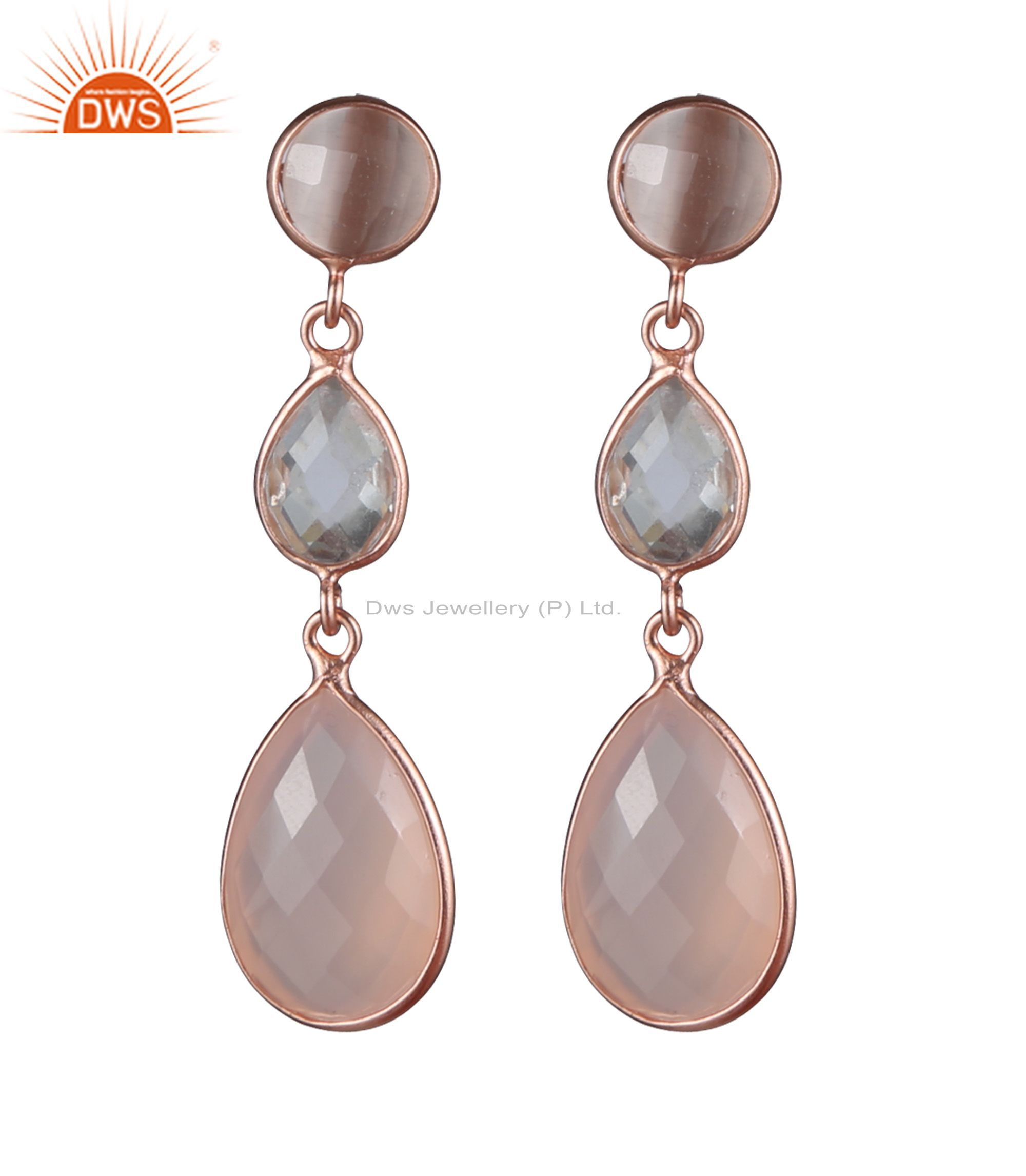 18K Rose Gold Plated Silver Crystal Quartz And Rose Chalcedony Drop Earrings