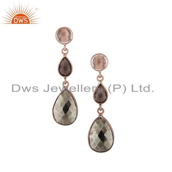 18K Gold Plated Sterling Silver Crystal, Smoky Quartz And Pyrite Drop Earrings