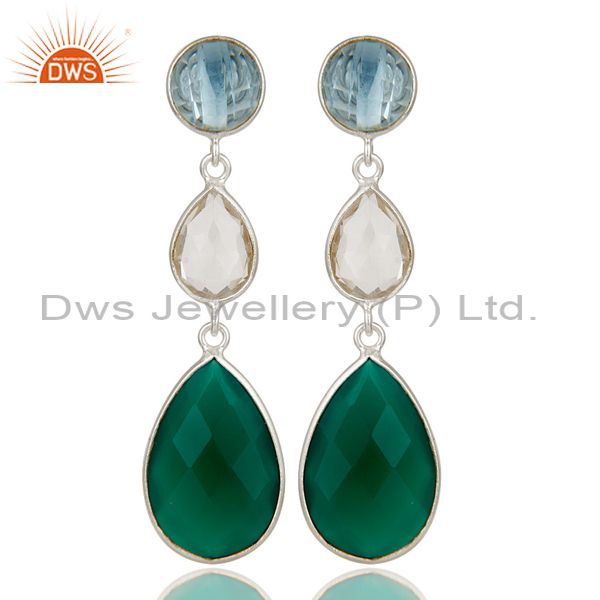 Blue Topaz, Crystal Quartz & Green Onyx Solid 925 Sterling Silver Drops Earrings