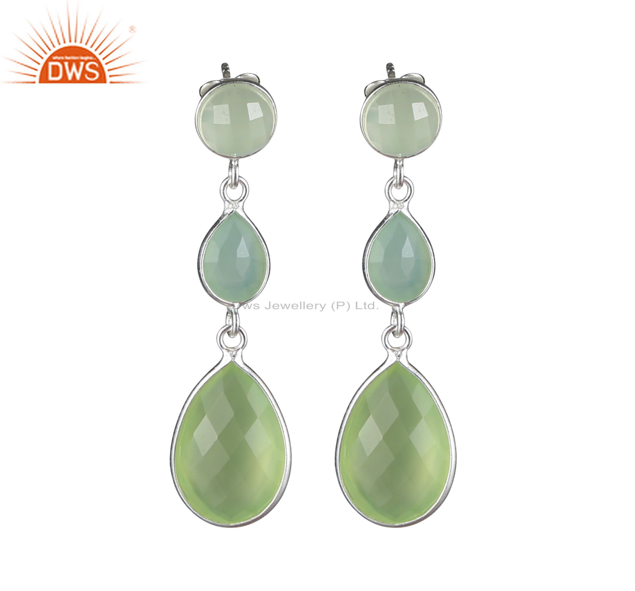 925 Sterling Silver Green Chalcedony Faceted Triple Gemstone Dangle Earrings