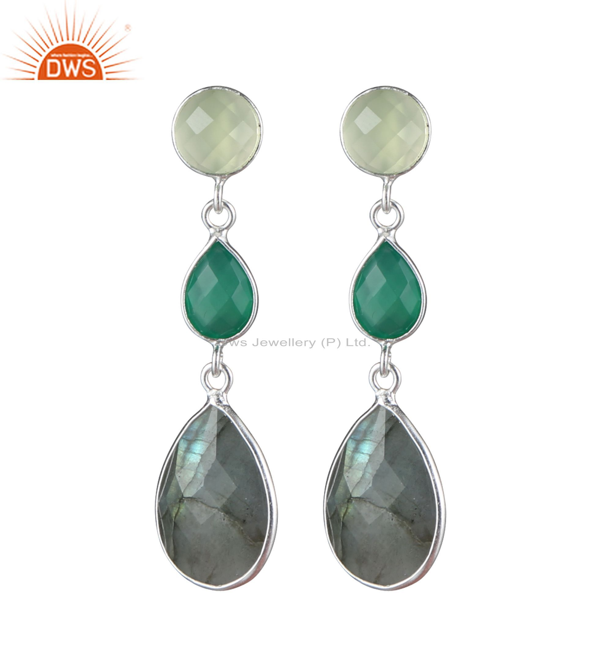 925 Sterling Silver Green Chalcedony, Labradorite And Green Onyx Earrings