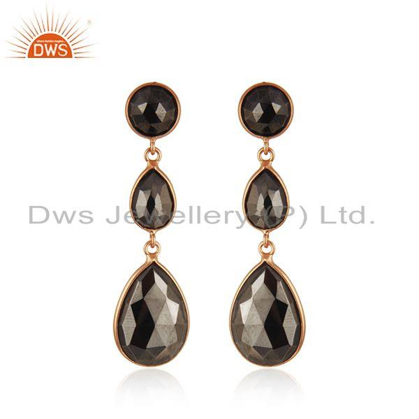 Hematite Gemstone Rose Gold Plated 925 Silver Earring Wholesaler India