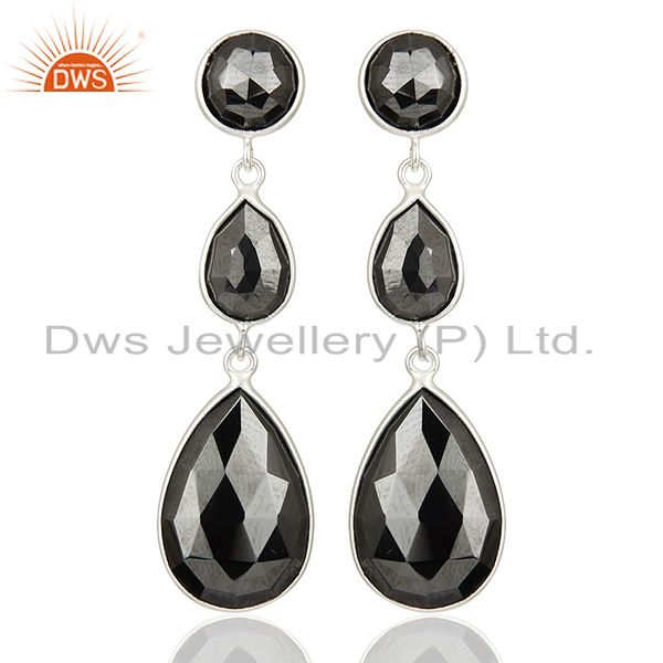 Black Hametite Gemstone Fine Sterling Silver Dangle Earrings Suppliers