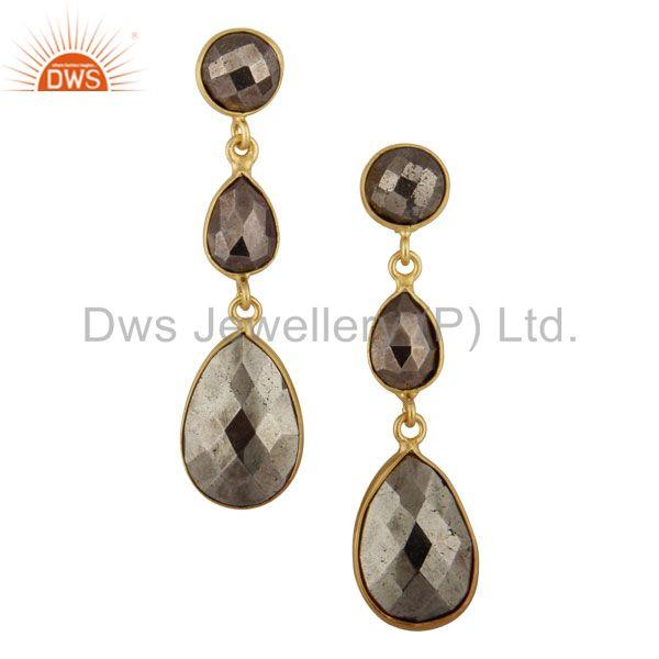 18K Gold Plated Sterling Silver Pyrite Bezel Set Triple Gemstone Dangle Earrings