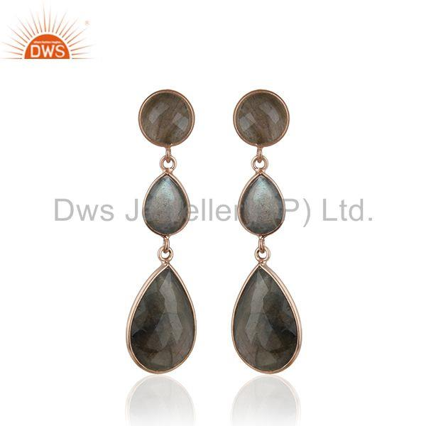 Rose Gold Plated 925 Silver Labradorite Gemstone Earring Wholesale Jewelry