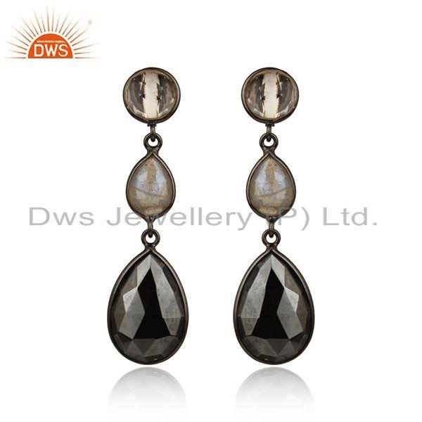 Handcrafted long black rhodium on silver dangle with multi gemstone