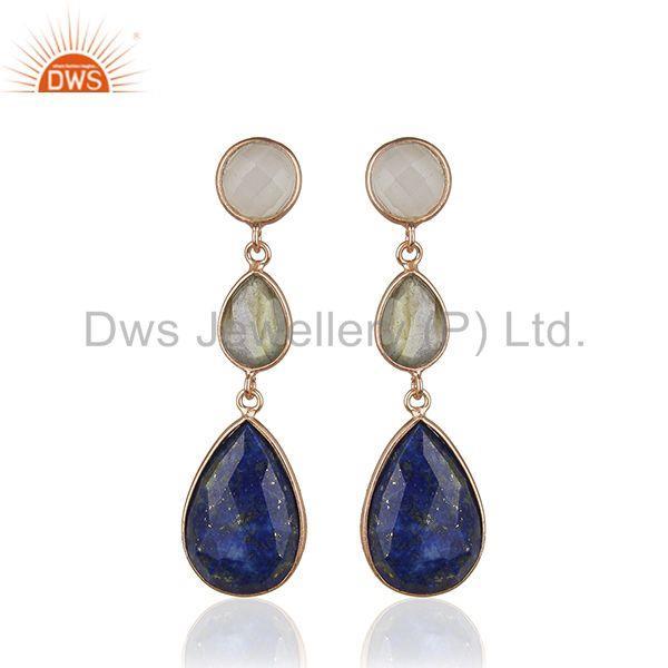 Rose Gold Plated Solid 925 Silver Three Gemstone Dangle Earrig for Women Jewelry