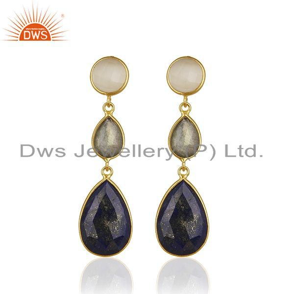 18K Gold Plated Sterling Silver Lapis Lazuli And Labradorite Dangle Earrings
