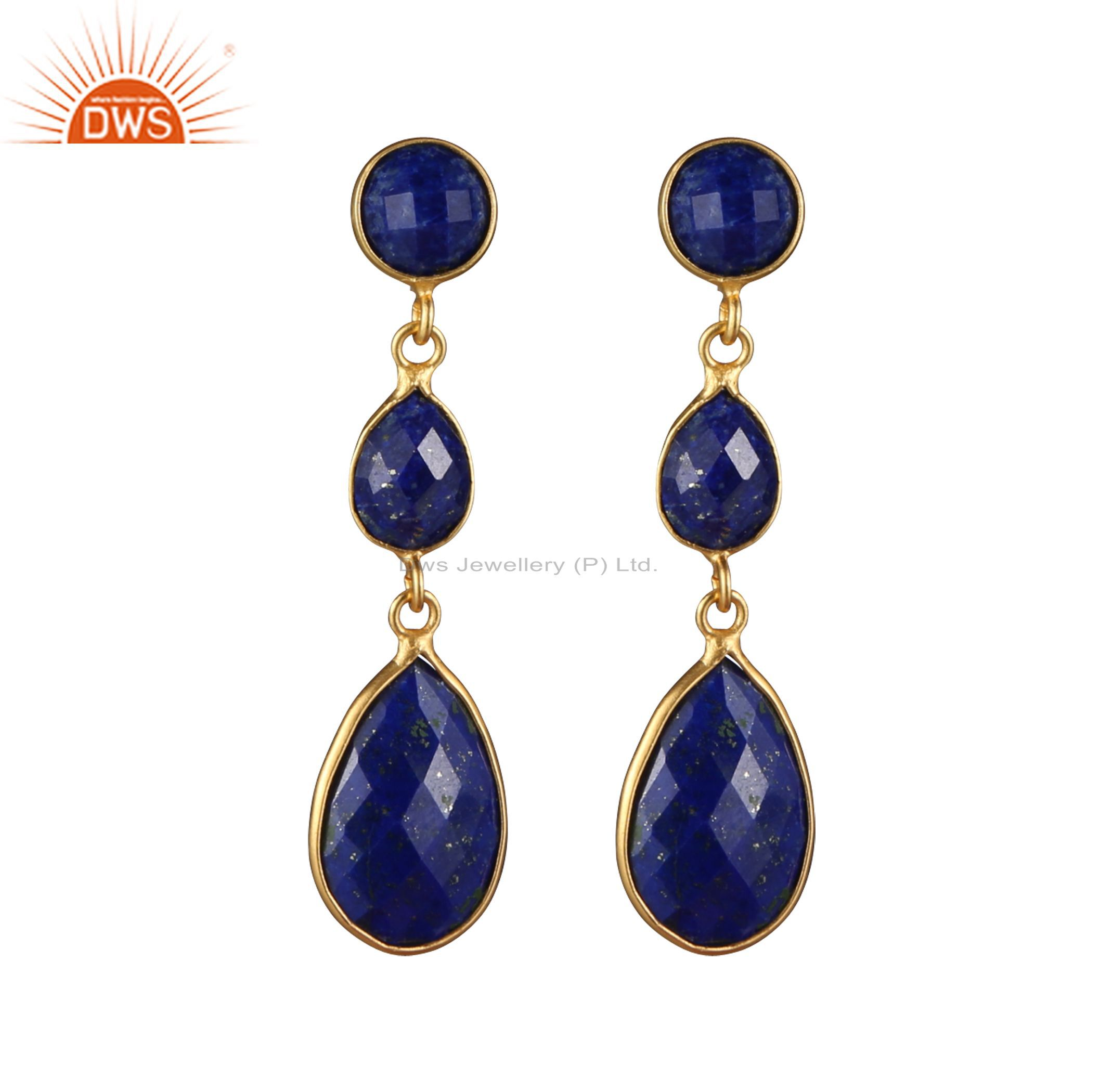 18K Yellow Gold Plated Sterling Silver Lapis Lazuli Triple Bezel Dangle Earrings