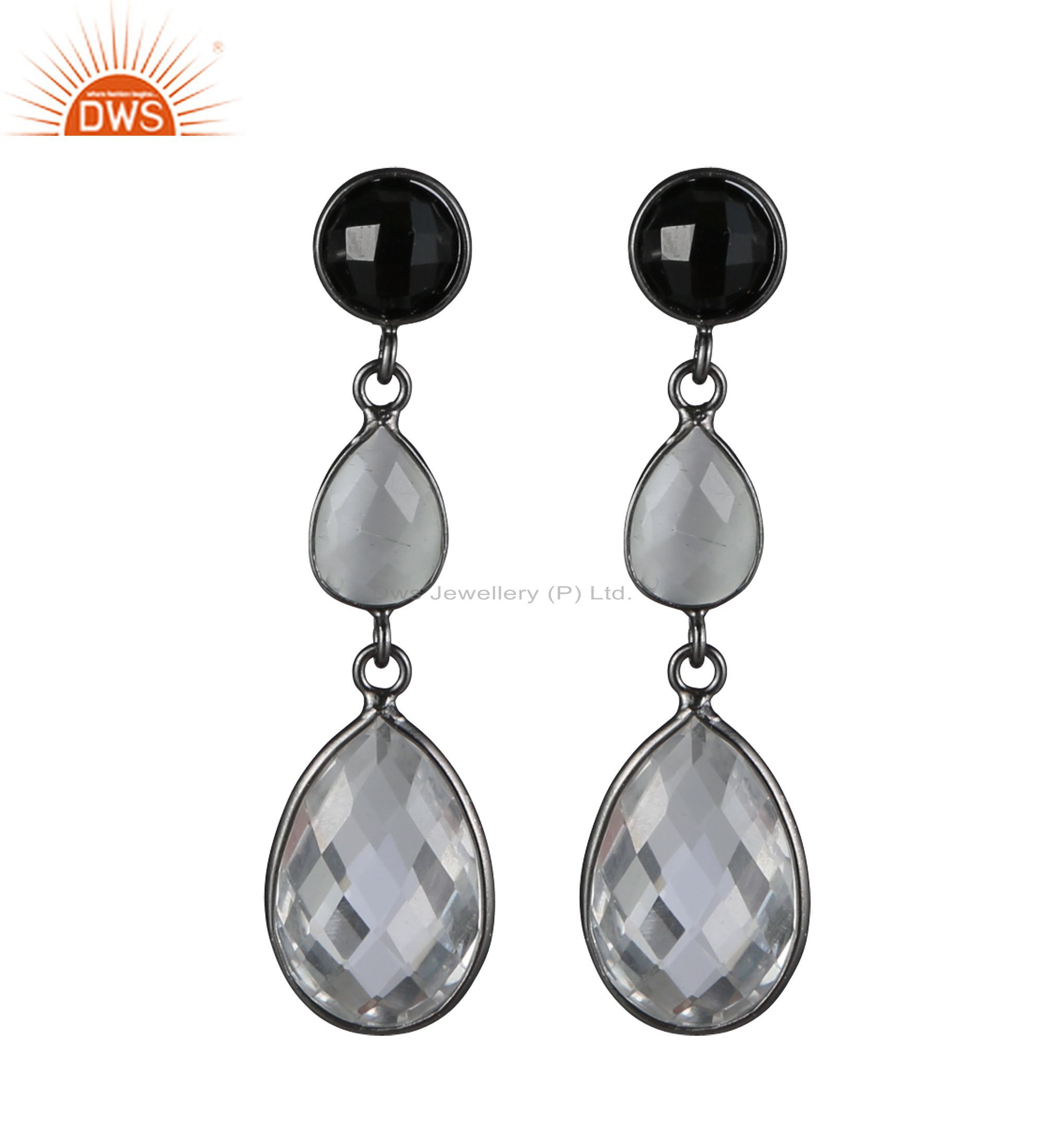 Black Onyx & Crystal Quartz Bezel Set Dangle Earrings Made In Oxidized Silver