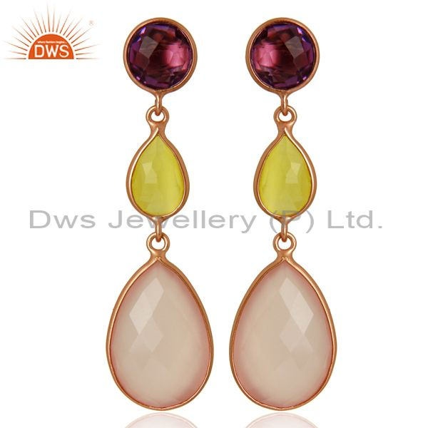 Rose Chalcedony Gemstone Rose Gold Plated Silver Dangle Earrings