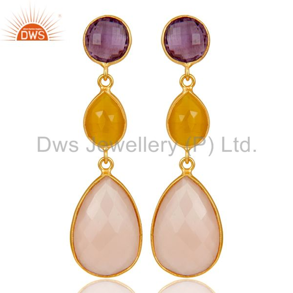 Chalcedony, Amethyst & Moonstone 18k Gold Plated Sterling Silver Dangle Earrings