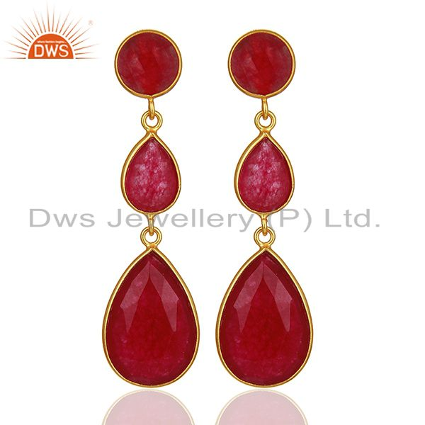 Red Aventurine Gemstone Gold Plated 925 Silver Dangle Earring Supplier