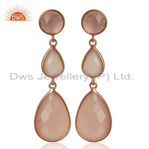 18K Rose Gold Plated Sterling Silver Rose Chalcedony Triple Drop Earrings