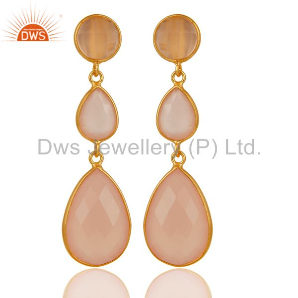 Gold Plated 925 Silver Faceted Dyed Rose Chalcedony Bezel-Set Dangle Earrings
