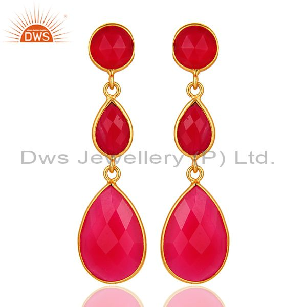 Dyed Pink Chalcedony Bezel Set Drop Dangle Earrings in 18K Gold Plated Silver