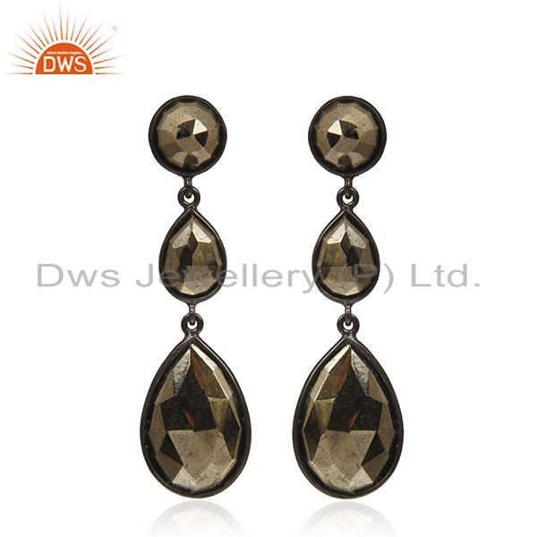 Pyrite Gemstone Black Rhodium Plated 925 Silver Earring Wholesale