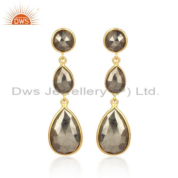 Pyrite set gold on sterling silver tear drop long earrings