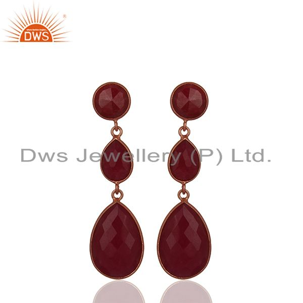 18K Rose Gold Plated Sterling Silver Faceted Ruby Gemstone Triple Drop Earrings