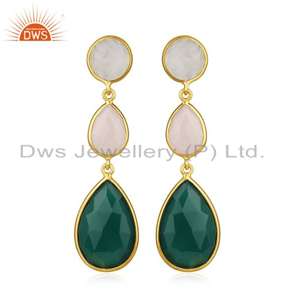 925 Silver Gold Plated Multi Gemstone Designer Earring Wholesale
