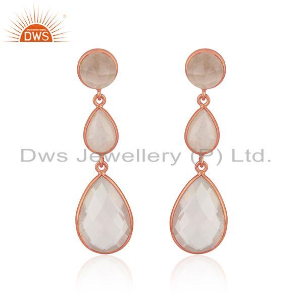 Double drop earring in rose gold on silver 925 with rose quartz