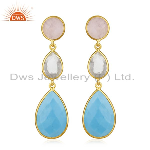 Handmade 925 Silver Gold Plated Multi Gemstone Dangle Earring Jewelry Wholesale