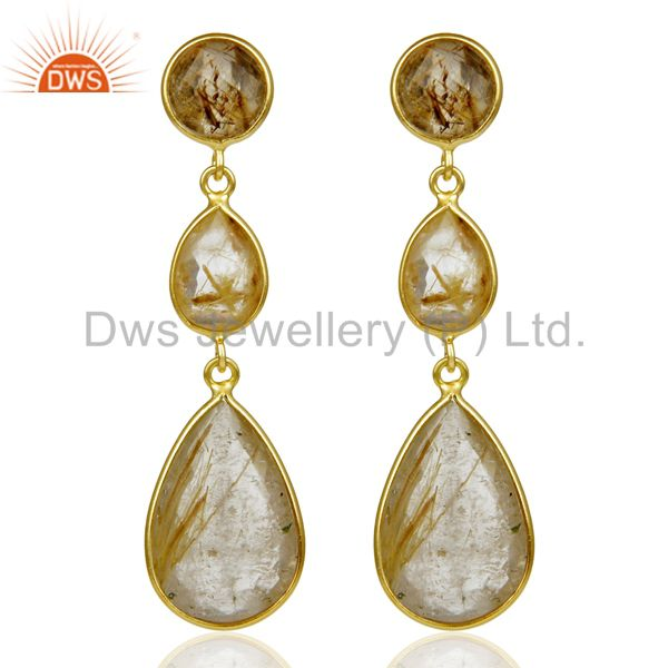 14K Gold Plated 925 Sterling Silver Golden Routile Quartz Bezel Set Earrings