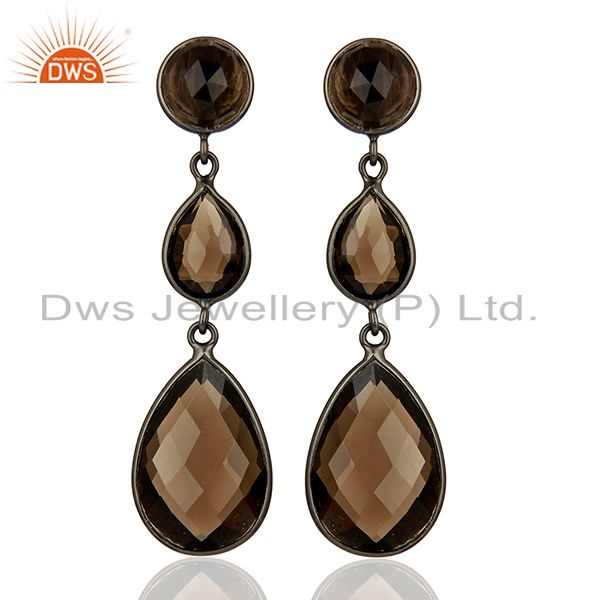 Handmade Black Rhodium Plated Smoky Quartz Girls Earrings Supplier