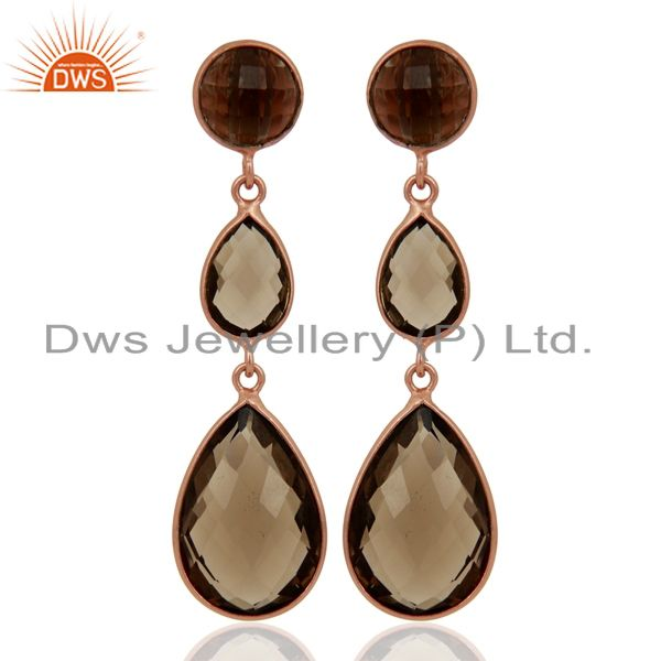 18K Rose Gold Plated Sterling Silver Faceted Smoky Quartz Triple Drop Earrings