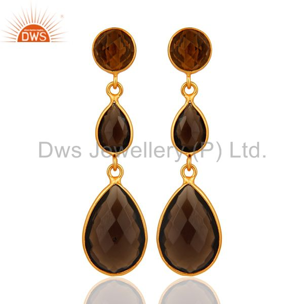 Natural Smoky Quartz Faceted Bezel Set Teardrop Earrings In Gold Plated Silver