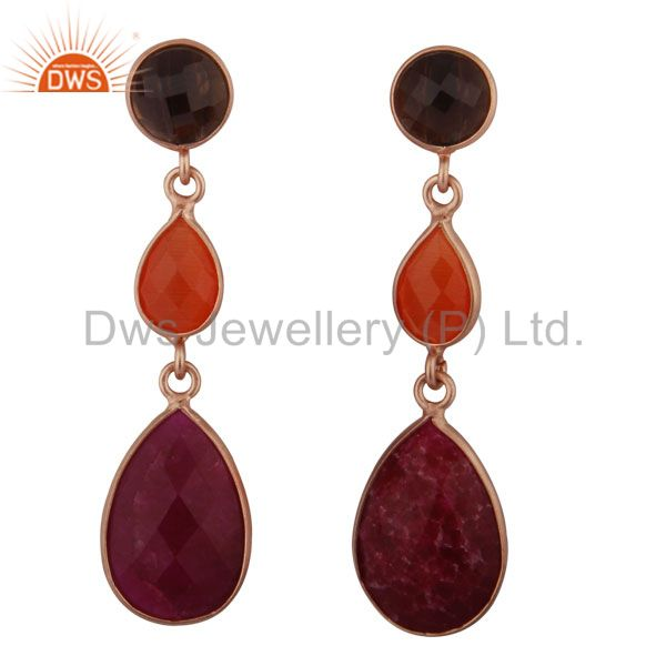 18K Rose Gold Plated Silver Dyed Ruby, Moonstone And Smoky Triple Drop Earrings