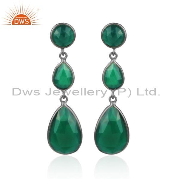 Green Onyx 925 Silver Tear Drop Shaped Long Earrings