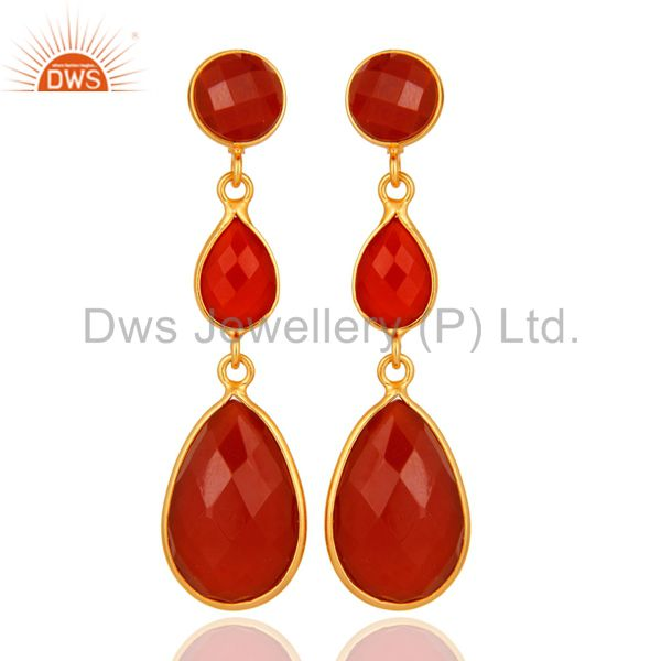 Faceted Red Onyx Gemstone Yellow Gold Plated Sterling Silver Drop Earrings
