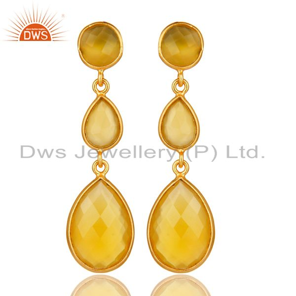 18K Gold Plated Sterling Silver Yellow Chalcedony Triple Stone Bezel Set Earring