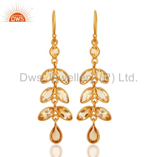18K Yellow Gold Plated Sterling Silver Citrine Gemstone Leaf Dangle Earrings
