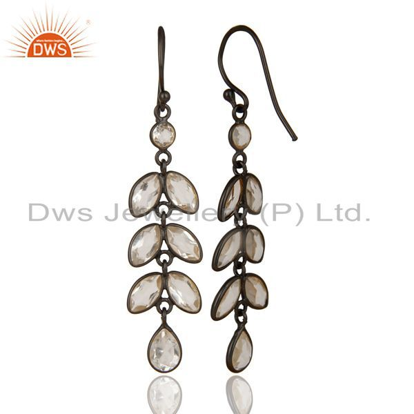 Black Oxidized 925 Sterling Silver Crystal Quartz Bezel Set Dangle Earrings
