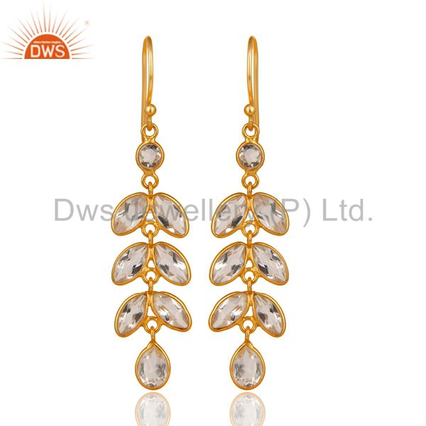 Leaf Desig Gold Plated SIlver Crystal Quartz Gemstone Earrings Jewelry
