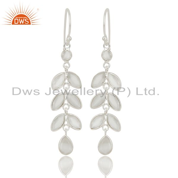 Handmade Solid 925 Sterling Silver White Moonstone Bezel Set Dangle Earrings