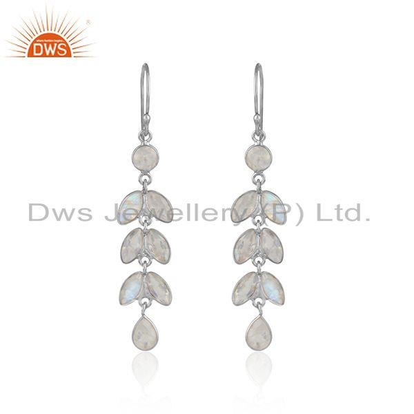 Designer Leaf Dangle Earring in Silver with Rainbow Moonstone