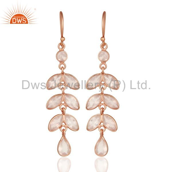 18K Rose Gold Plated Sterling Silver Rose Quartz Gemstone Dangle Earrings