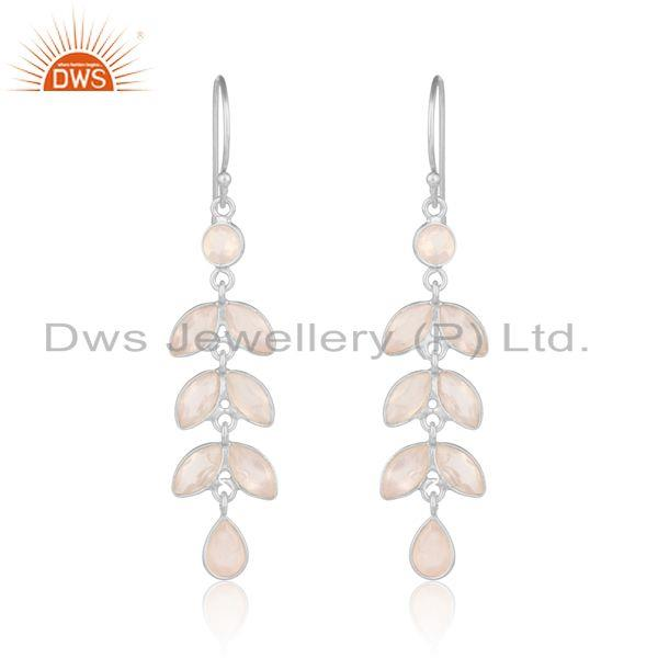 Leaf Designer Dangle Earring in Fine Silver 925 with Rose Quartz