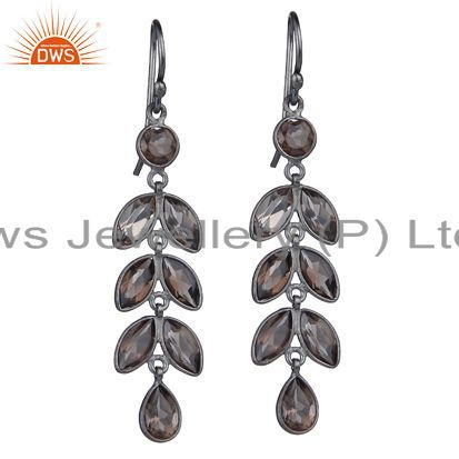 925 Sterling Silver With Oxidized Smoky Quartz Gemstone Leaf Dangle Earrings