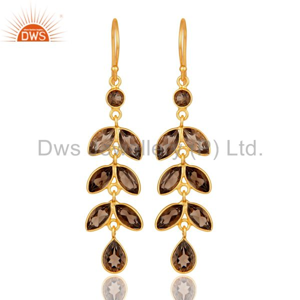 925 Sterling Silver Smoky Quartz Gemstone Leaf Earrings With Gold Plated