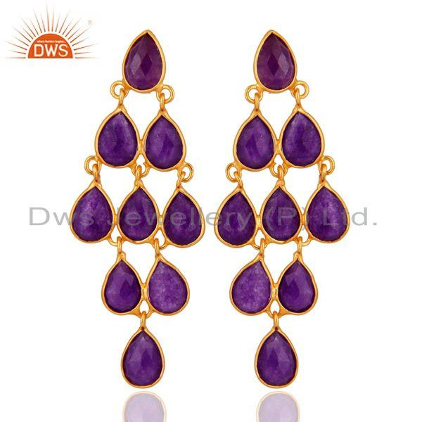18K Yellow Gold Plated Sterling Silver Purple Chalcedony Chandelier Earrings