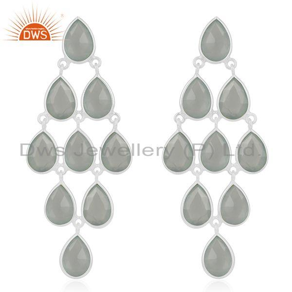 Aqua Chalcedony Gemstone Sterling Silver Dangle Earring Wholesale Suppliers