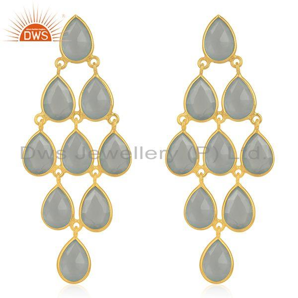 Aqua Chalcedony Gemstone Gold Plated 925 Silver Earring Manufacturers