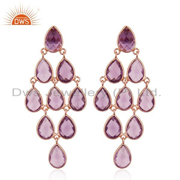 Natural Amethyst Gemstone 925 Silver Rose Gold Plated Earrings Wholesale